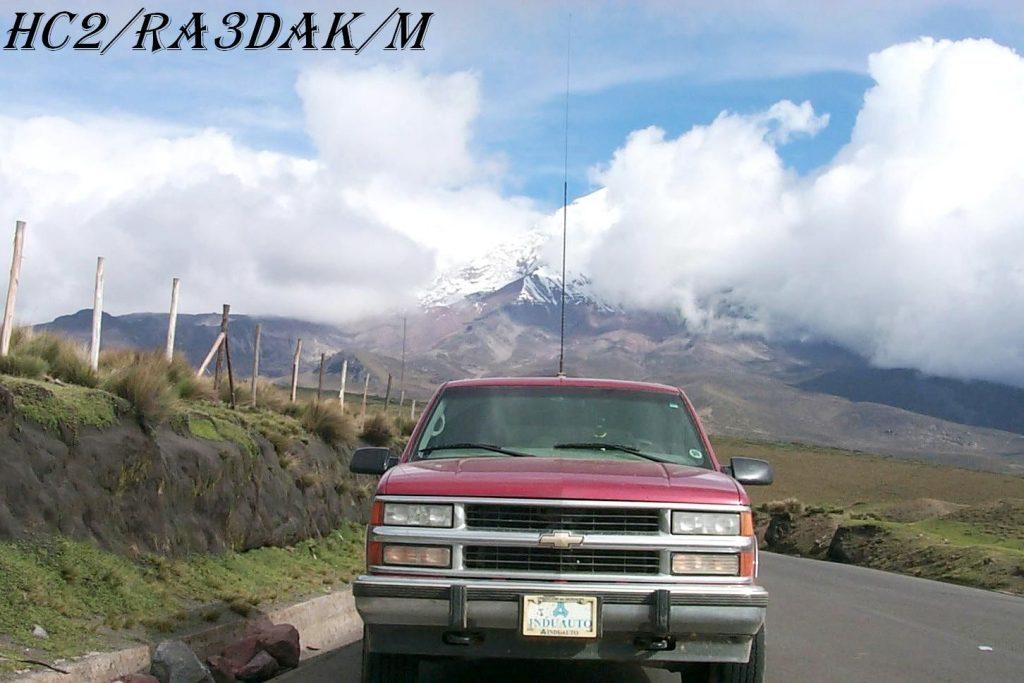 HC2/RA3DAK/M in Chimborazo, Ecuador, South America. Transceiver IC-706MKII, Mobile Antenna MFJ.