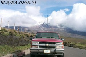 HC2/RA3DAK/M Mount Chimborazo Ecuador South America. Transceiver IC-706MKII, Mobile Antenna MFJ-1620T, HF Stick, 20M. Cordillera Occidental range of the Andes.