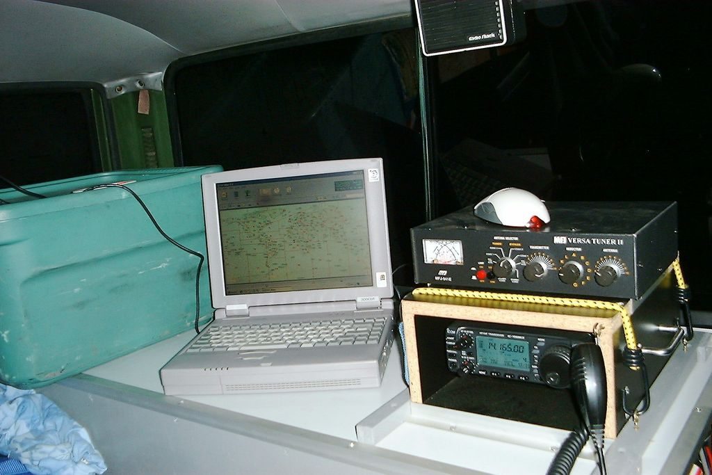 Mobile Ham radio station OA/HC1ACW/M. Nissan Patrol, Transceiver IC-706MKII, Mobile Antenna MFJ-1620T, HF Stick, 20M.